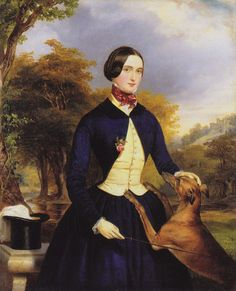 Ferdinand Georg Waldmüller - Portrait Of Lady And Wolfhound
