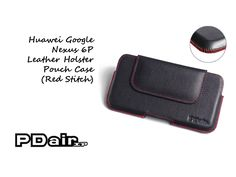 PDair Huawei Google Nexus 6P Leather Holster Pouch Case (Red Stitch)