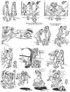 Fright. Vintage cartoons by the Danish artist Herluf Bidstrup.