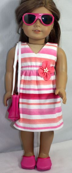 American Girl Doll Clothes-Striped V Neck Summer Dress, Totebag, Clogs and Sunglasses. $25.00, via Etsy.
