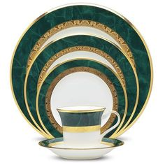 """""""Fitzgerald"""" by Noritake. 12 - 5pc place settings. Matching platters,serving bowls, gravy boat/plate, tea service, coffee service w/ cream and sugar, s/p shakers."""
