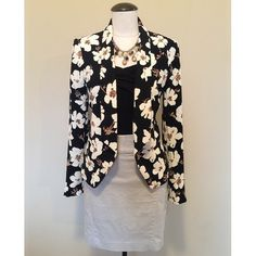 ☘SALE☘ LOFT (Floral Print) Blazer sz S NWOT LOFT (Floral Print) Blazer sz S NWOT▪️It's brand new, never been worn. It is black, with a tan and white floral print. The skirt, top, and necklace are NOT included, sold separately.                                NO TRADES NO PAYPAL LOFT Jackets & Coats Blazers