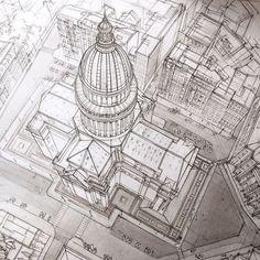 Les talentueux Croquis architecturaux de Adelina Gareeva (6)
