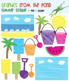 Summer Activities For School FREE Themed Clip Art