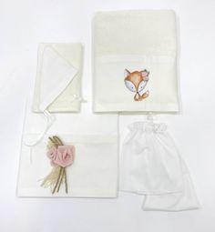 Λαδόπανα χειροποίητα για κοριτσάκι με θέμα αλεπού και λουλούδια, annassecret, Χειροποιητες μπομπονιερες γαμου, Χειροποιητες μπομπονιερες βαπτισης