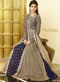 Dignified Blue And Brown Faux Georgette With Net Embroidery Work Anarkali Suit