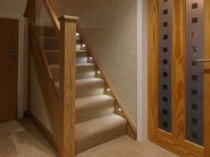 Cladded Oak Newel Posts and Embedded Glass Balustrade - house and flat decorations House Styles, Stairway Lighting, Home, House, Oak Stairs, Stairs Design Interior, Oak Newel Post, Stair Makeover, House Staircase