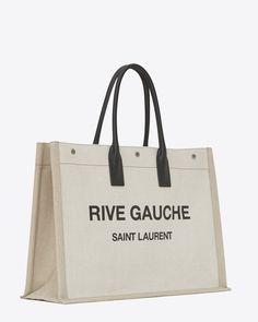 rive gauche tote bag in linen and leather, Different angle view Ysl Tote Bag, Saint Laurent Tote, Branded Tote Bags, Luxury Purses, Rive Gauche, Designer Totes, Designer Handbags, Cloth Bags, Gaucho