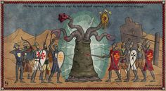 The Crusades and Lovecraft's Monsters This is a series of illustrations that imitates the style of old medieval paintings and adds a macabre flavour by incorporating some of H. The text is mostly medieval Middle High German. Hp Lovecraft, Lovecraft Cthulhu, Arte Horror, Horror Art, Armadura Darth Vader, Lovecraftian Horror, Eldritch Horror, Medieval Paintings, Call Of Cthulhu