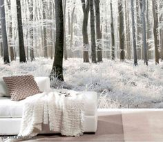 Beautiful wall mural of a forest in winter (black and white). Bedroom Murals, Bedroom Themes, Bedroom Decor, Poster Mural, Casa Hotel, Forest Wallpaper, Wallpaper Murals, Winter Wallpaper, Tree Wallpaper