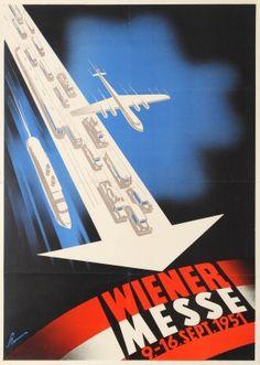 Vienna Fair Wiener Messe Midcentury Modern 1951 - original vintage event poster by Victor Theodor Slama listed on AntikBar.co.uk