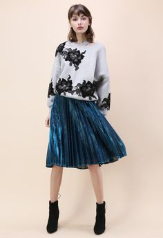 Shine Your Way Pleated Midi Skirt in Sapphire Blue - New Arrivals - Retro, Indie and Unique Fashion