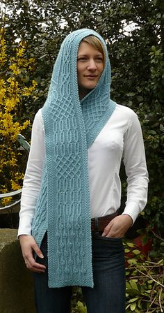 """""""In Sindarin (a Tolkien elvish language) 'Lanthir Lamath' means 'waterfall of echoing voices'.  To reflect it's name this hooded scarf features a cascade of Celtic style twisted stitch cables."""" NERDING OUT http://www.ravelry.com/patterns/library/lanthir-lamath"""