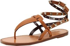 VALENTINO Brown Rockstud Thong Sandal