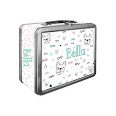Frenchie Bull Dog Doodle Classic Tin Lunch Box | Side Wrap | Back To School | Personalized | Image on Both Sides | Keepsake Box by PaintingParisPink on Etsy