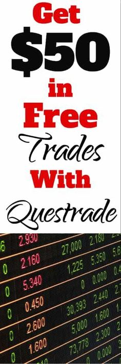 Questrade Review for Canadians and Discount Offer Code for $50 in Free Trades | Start Investing | Self directed investing |  #investing #bonuscode #bonus offer via @familymoneyplan