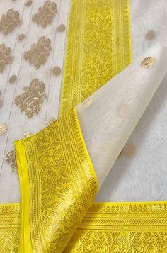 Off White Handloom Chanderi Pure Katan Silk Saree Bridal Silk Saree, Silk Lehenga, Soft Silk Sarees, Georgette Sarees, Handloom Saree, Yellow Saree Silk, Off White Saree, Red Saree, Saree Dress