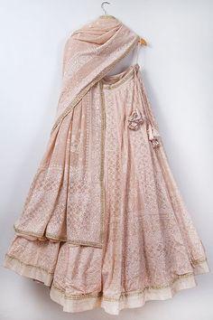 Where To Buy Chikankari Lehenga From? + Prices Love this blush pink Chikankari lehenga by Anjul Bhandari. Indian Gowns Dresses, Indian Fashion Dresses, Indian Designer Outfits, Fashion Outfits, Indian Designers, Trendy Outfits, Indian Attire, Indian Wear, Indian Lehenga