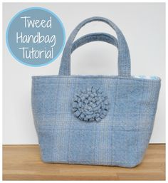 Tweed tote free tutorial: Learn how to make this beautiful and easy DIY sewing project by using an old skirt @vickymyerscreations