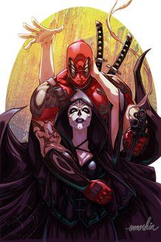 Deadpool and Mistress Death by emmshin on deviantART