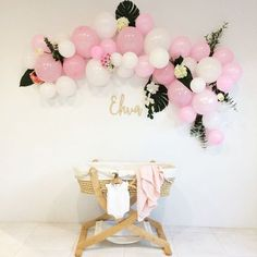 Balloon arch, baby shower, baby blessing Girl baby shower Floral pink and white balloon arch. How to.