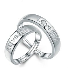 [USD14.42] [EUR13.18] [GBP10.23] 2 Pack Couple On The Ring Of Men And Women (specification: Couple ring one pair, Purity: S925 Silver)
