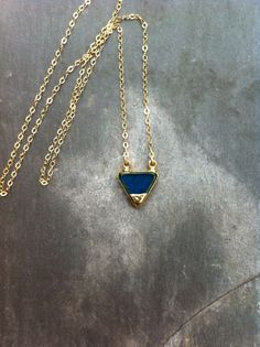 Blue Triangle Pendant 24Kt Gold Electroplated on a by CoraliBondi, $45.00