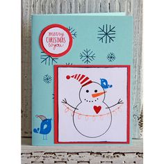 Christmas Cards with Snowman, Boxed Set of 12 Notecards, Handmade... ($30) ❤ liked on Polyvore featuring home, home decor and stationery
