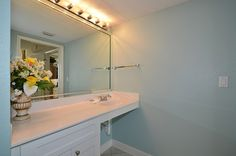 Master bathroom has been painted a pretty blue!