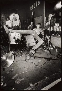 Kurt Cobain at Raji's nightclub in Hollywood. Charles Peterson 1990.