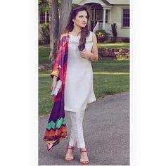 elegant white dress  colorful dupatta order or inbox us for details