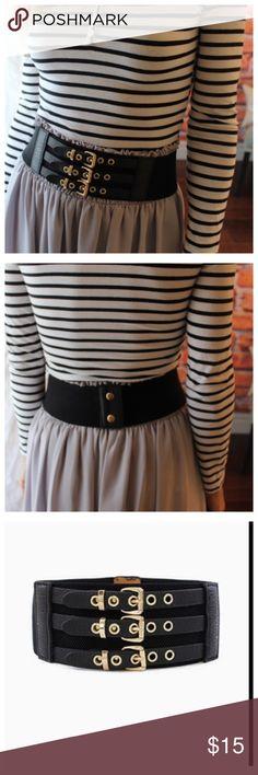 Black triple buckle stretch belt Black triple buckle stretch belt Accessories Belts
