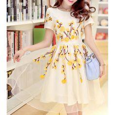 Elegant Jewel Neck Embroidered Short Sleeve Organza Dress For Women, YELLOW, M in Dresses 2014 | DressLily.com