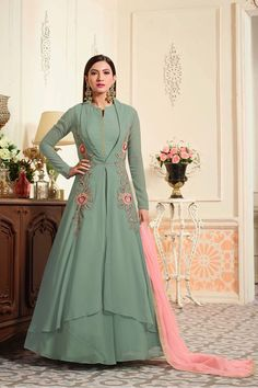 Buy Graceful Green Partywear Designer Embroidered Georgette Anarkali Suit at Get latest Anarkalis for womens at Peachmode. Anarkali Gown, Lehenga, Latest Anarkali Suits, Gauhar Khan, Gown Suit, Floor Length Gown, Designer Anarkali, Silk Gown, Festival Wear