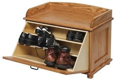 Amish Oak Wood Shoe Storage Blanket Chest Storage is folded into this delightful wood chest. Have a seat to change shoes in bedroom, foyer or hallway. Handcrafted with solid wood. #shoestorage