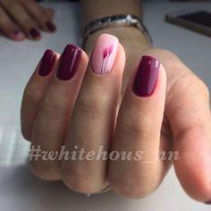 Beautiful nails, Burgundy nails ideas, Colorful nails 2017, Fashion nails 2017, flower nail art, Maroon nails, Spring nails 2017, Spring nails with flowers