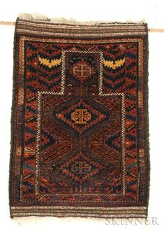 Baluch Prayer Rug, Northeast Persia, late 19th century, (slight moth damage), 3 ft. 8 in. x 2 ft. 9 in.  Estimate $1,500-2,000