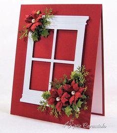 Poppy Stamps Grand Madison Window and beautiful poinsettias! Homemade Christmas Cards, Christmas Cards To Make, Christmas Makes, Xmas Cards, Homemade Cards, Handmade Christmas, Christmas Crafts, Christmas Decorations, White Christmas