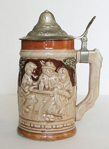 "Beer Stein Vintage Lidded Pacific Japan 7"" Ceramic Photo Prop Oktoberfest 
