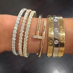 We offer brand real gold and diamonds jewelry.All mirror quality.what you see is what you receive,and we accept return if you dont like the Cartier Love bracelet, yellow gold, set with 204 brilliant-cut diamonds totaling 2 carats. Diamond Bracelets, Love Bracelets, Jewelry Bracelets, Bangles, Diamond Jewellery, Cartier Bracelet, Cartier Jewelry, Cute Jewelry, Gold Jewelry