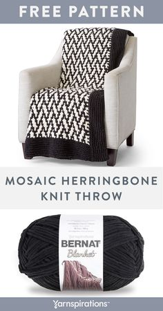 "Jan 2020 - Free knit pattern using Bernat Blanket yarn. Try your hand at two-color knitting using the easy ""mosaic"" technique on this knit blanket. Knitted Throw Patterns, Knitted Afghans, Knitted Blankets, Knitting Patterns Free, Free Knitting, Stitch Patterns, Crochet Throws, Pattern Sewing, Throw Blankets"