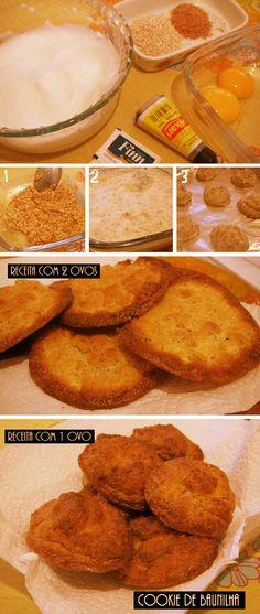COOKIES DE BAUNILHA Ingredientes: 1 ovo 1 colher de adoçante em pó 5 gotas de aroma de baunilha 1 colher de sopa de farelo de trigo 2 colheres de sopa de farelo de aveia