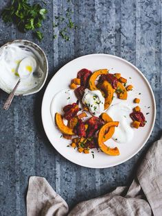 Roasted Tomatoes and Butternut Squash with Cardamom Yogurt Sauce {vegetarian thanksgiving}