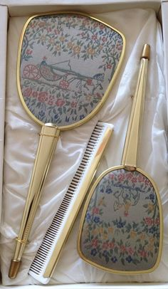 VINTAGE 50s 1960s EMBROIDERED PRINT 3 PIECE VANITY DRESSING TABLE SET - BOXED | eBay