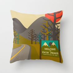 Visit Twin Peaks throw pillow | Jazzberry Blue