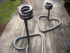 Island Blacksmith: Hand forged ironwork. Heart shaped candle holder - blacksmith idea