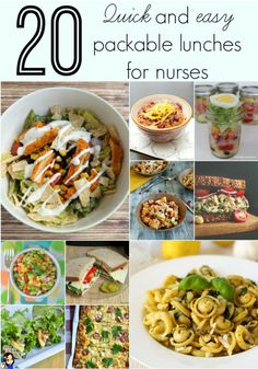 This is a GREAT go to list if you're looking for a new and creative lunch to take to work - 20 quick and easy packable lunches for nurses (and non nurses)