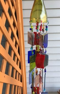 Stained Glass Wind Chime Sun Catcher Upcycled Wine Bottle Top.  Garden Art!
