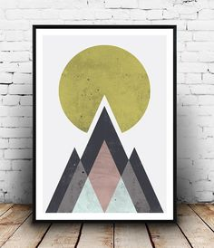 Geometriska former i dämpade färger, retro känsla.   Mountains print, Abstract print, geometric wall art, abstract mountain, minimalist art, modern art,  scandinavian print, watercolor abstract
