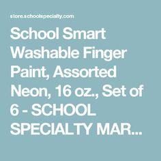 School Smart Washable Finger Paint, Assorted Neon, 16 oz., Set of 6 - SCHOOL SPECIALTY MARKETPLACE
